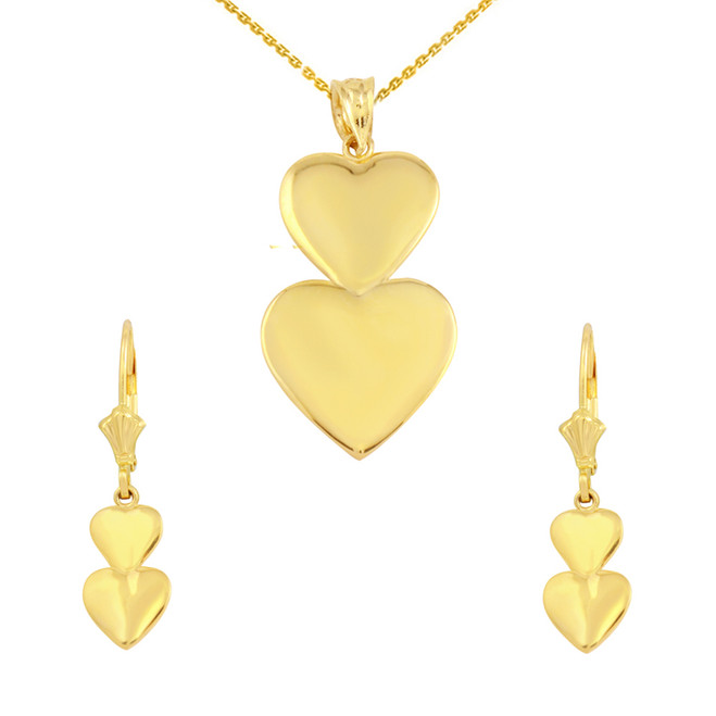 14K Solid Yellow Gold Two Stacked Hearts Love Pendant Necklace Earring Set
