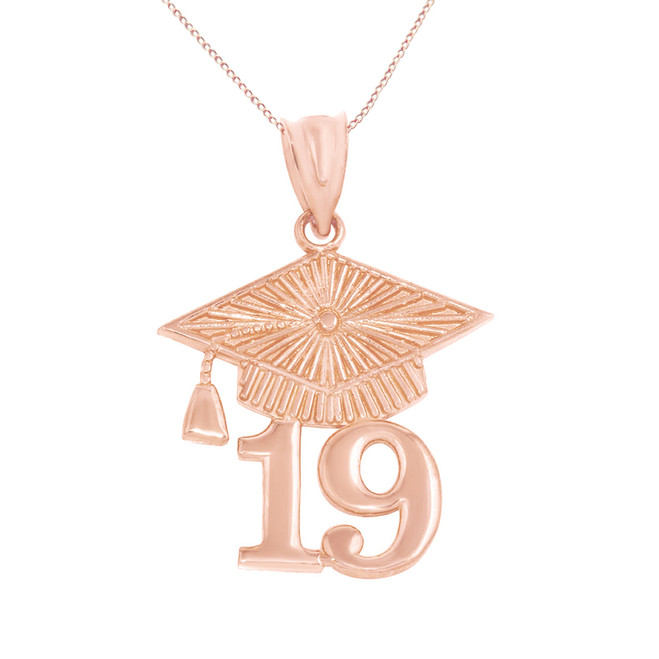Solid Rose Gold 2019 Graduation Cap Pendant Necklace