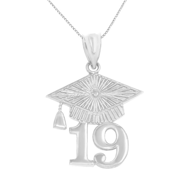 Solid White Gold 2019 Graduation Cap Pendant Necklace