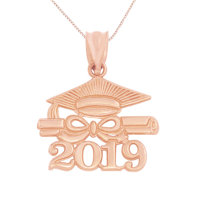 Solid Rose Gold Class of 2019 Graduation Diploma & Cap Pendant Necklace