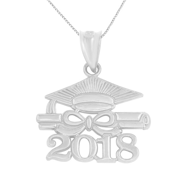 Sterling Silver Class of 2018 Graduation Diploma & Cap Pendant Necklace
