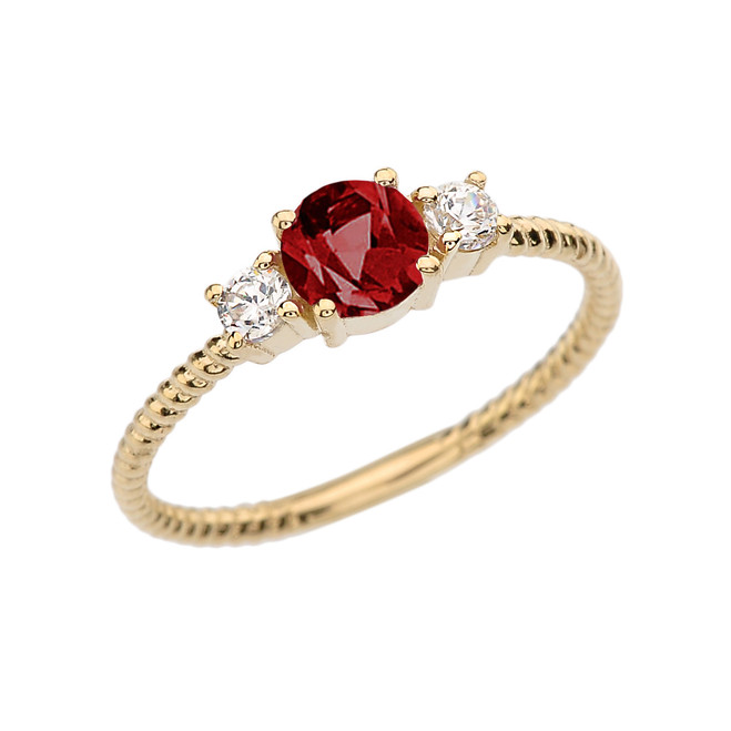 Dainty Yellow Gold Garnet and White Topaz Rope Design Engagement/Promise Ring