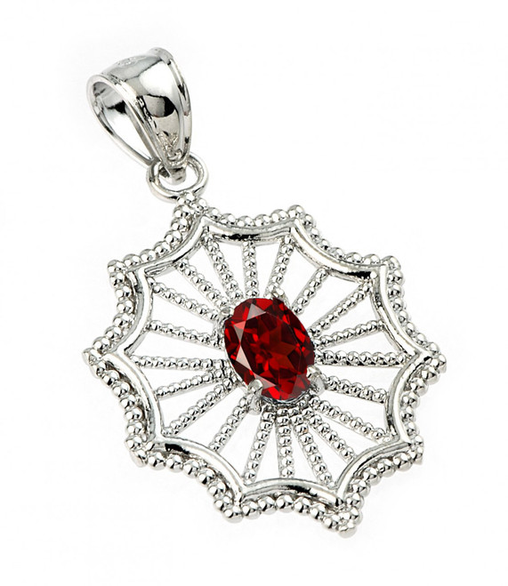 Sterling Silver Beautiful Modern Filigree Garnet Birthstone Pendant Necklace