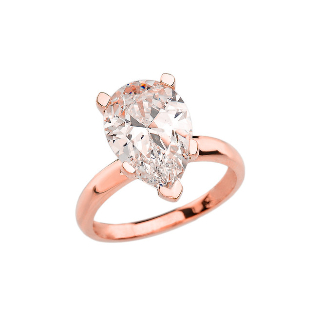 Rose Gold Pear Shape CZ Engagement/Proposal Solitaire Ring