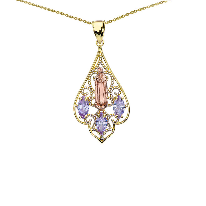 Yellow Gold Our Lady of Guadalupe Filigree Tri-Tone Pendant Necklace With Lavender CZ