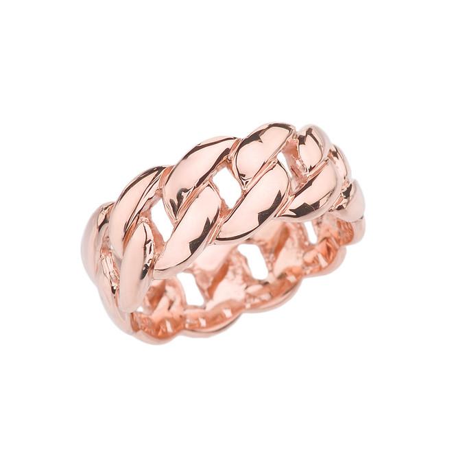 Rose Gold 8 mm Cuban Link Ring Band