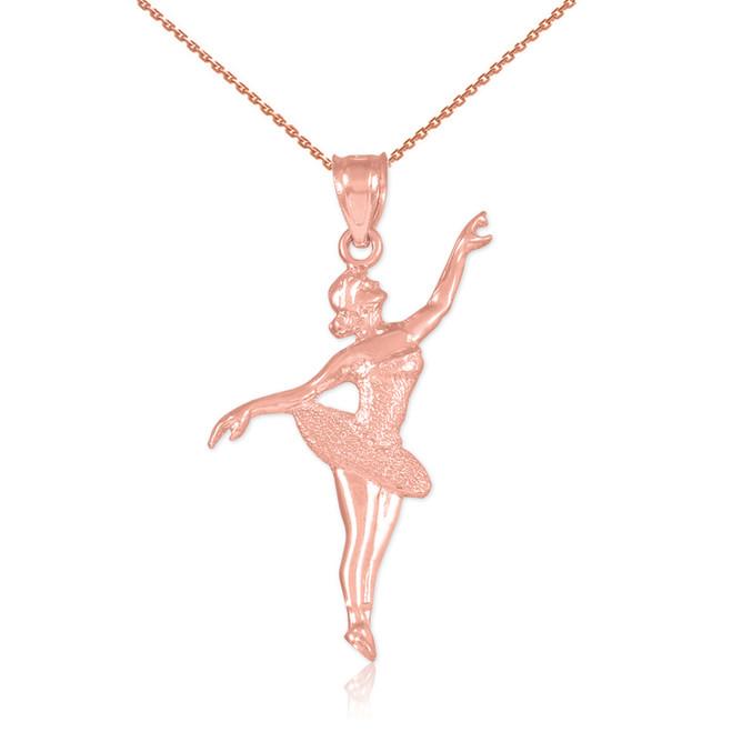 Ballet Dancer Rose Gold Charm Pendant Necklace
