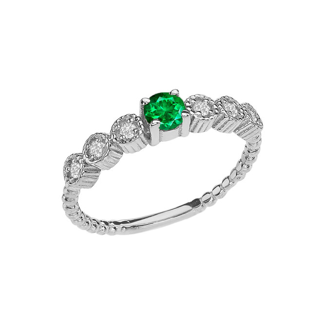 Diamond and Emerald(LCE) White Gold Stackable/Promise Beaded Popcorn Collection Ring