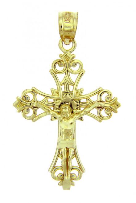 Yellow Gold Crucifix Pendant - The Faith Crucifix