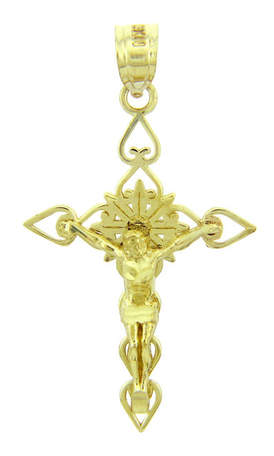 Yellow Gold Crucifix Pendant - The Good Shepherd Crucifix