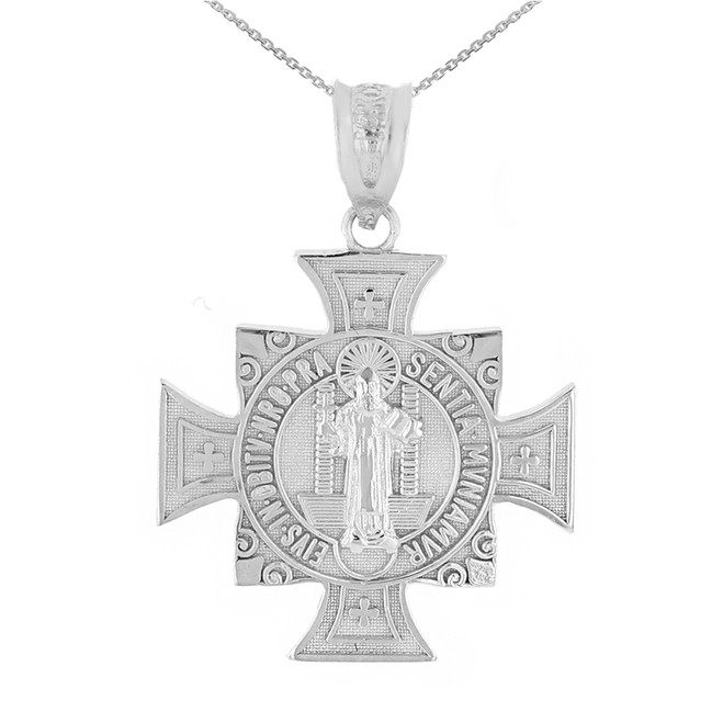 "White Gold Saint Benedict Cross Pendant Necklace (1.06"")"