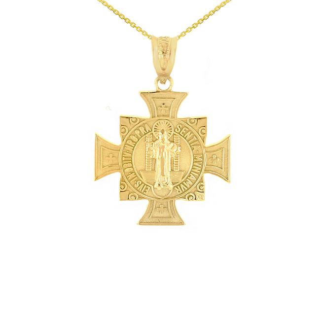 "Yellow Gold Saint Benedict Cross Pendant Necklace (0.97"")"