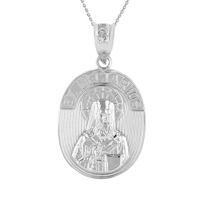 White Gold Saint Nectarios of Aegina Greek Orthodox Engravable Pendant Necklace
