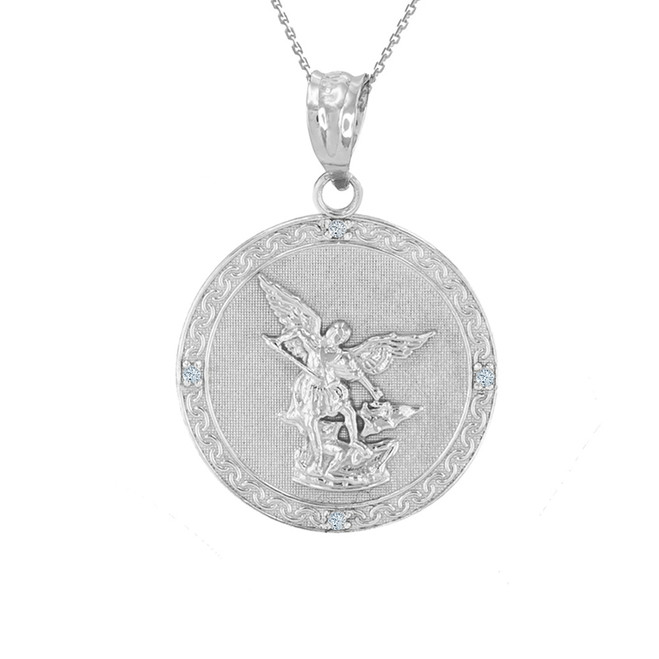 "Sterling Silver St Michael Archangel CZ Pendant Necklace ( 1.02"" )"