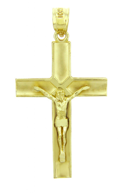 Yellow Gold Crucifix Pendant - The Redeemer Crucifix