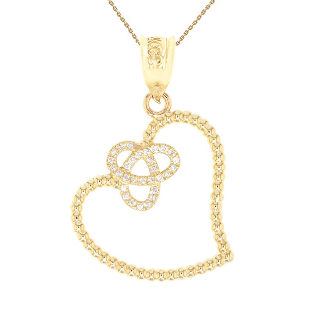 Yellow Gold Trinity Heart and Diamond Pendant Necklace