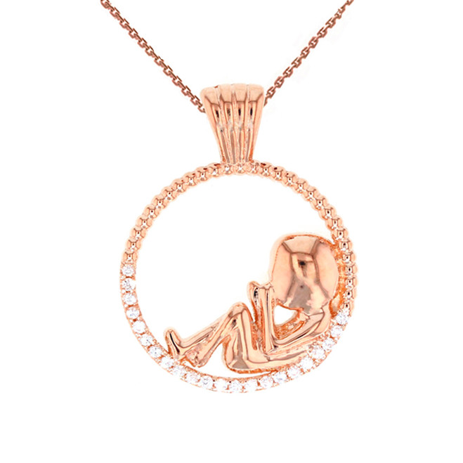Rose Gold Baby in Womb Pendant Necklace