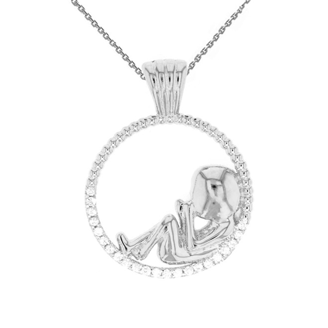 Sterling Silver Baby in Womb Pendant Necklace