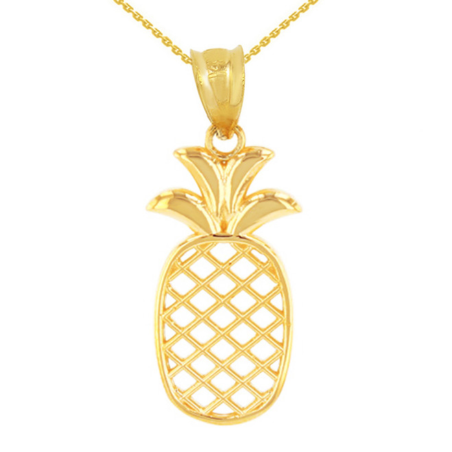 Solid Yellow Gold Pineapple Pendant Necklace