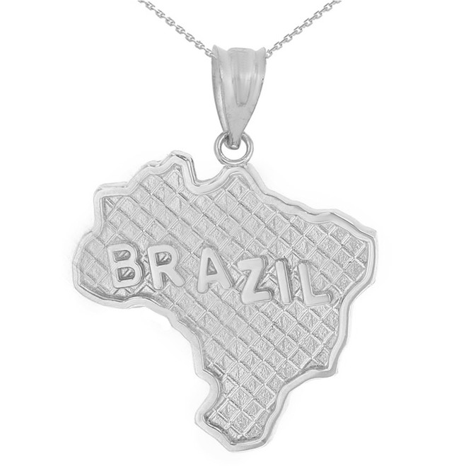 Solid White Gold Country of Brazil Geography Pendant Necklace