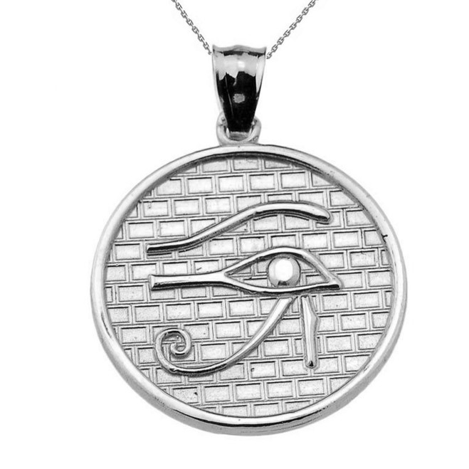 White Solid Gold Eye of Horus Round Charm Pendant (13 steps)