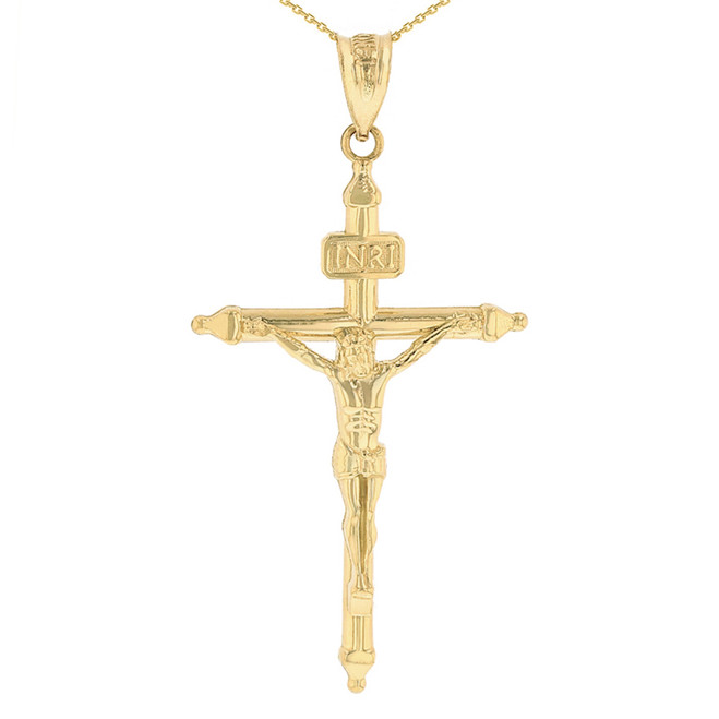 "Solid Yellow Gold INRI Christ Passion Cross Crucifix Pendant Necklace 1.7"" (43 mm)"