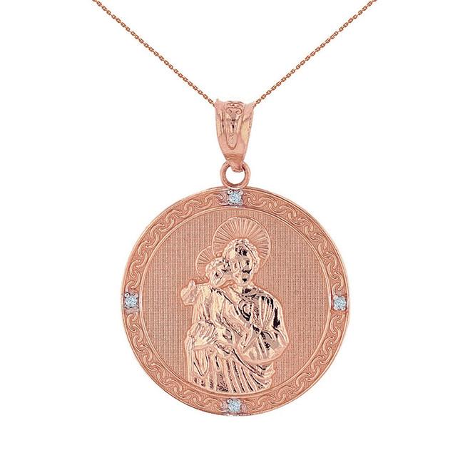 "Solid Rose Gold Saint Joseph Diamond Medallion Pendant Necklace  1.04"" ( 26 mm)"