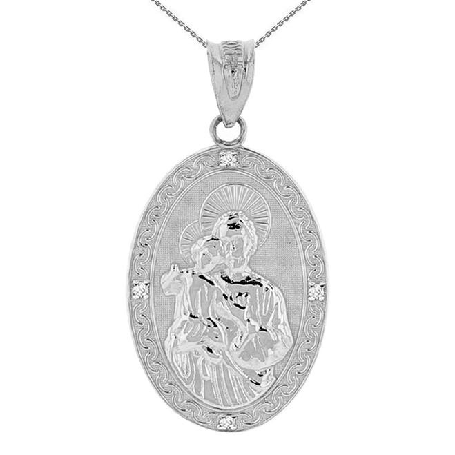 "Solid White Gold Saint Joseph Diamond Oval Medallion Pendant Necklace 1.16"" (29 mm)"