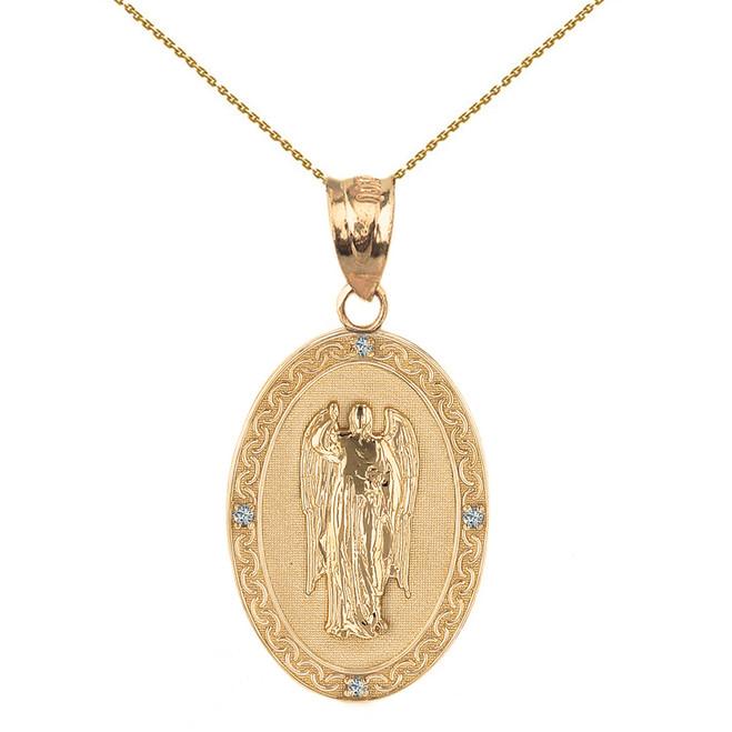 "Solid Yellow Gold Archangel Saint Gabriel Diamond Oval Medallion Pendant Necklace  1.02"" (25 mm)"
