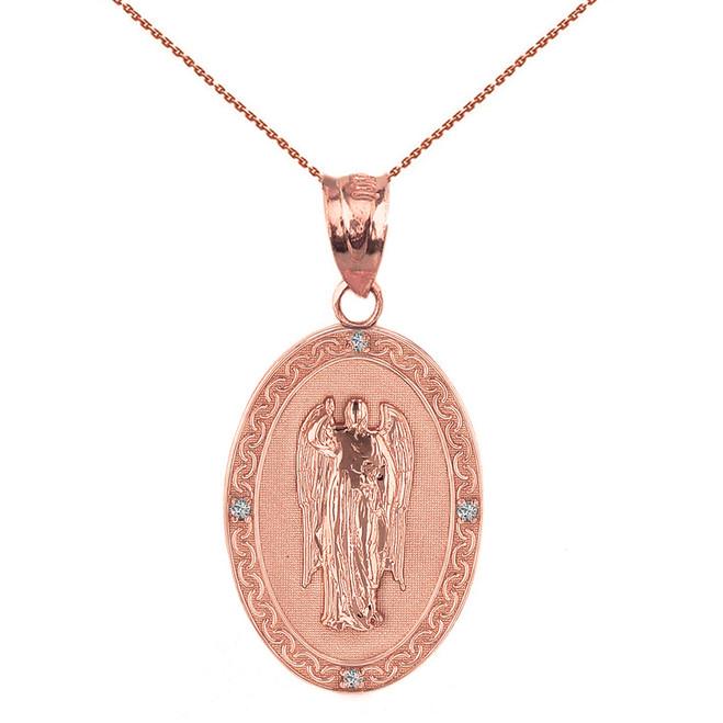 "Solid Rose Gold Archangel Saint Gabriel Diamond Oval Medallion Pendant Necklace  1.02"" (25 mm)"