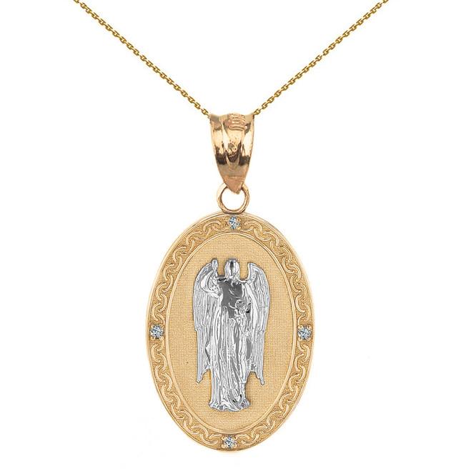 "Two Tone Solid Yellow Gold Archangel Saint Gabriel Diamond Oval Medallion Pendant Necklace  1.02"" (25 mm)"