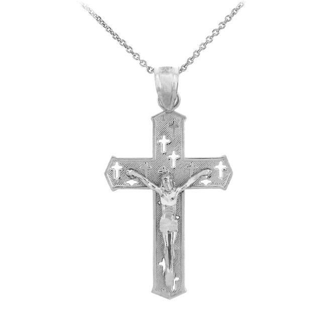White Gold Crucifix Pendant Necklace- The Crosses Crucifix