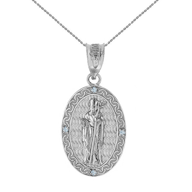 "Sterling Silver Saint Patrick CZ Oval Medallion Pendant Necklace 1.03"" ( 26 mm)"