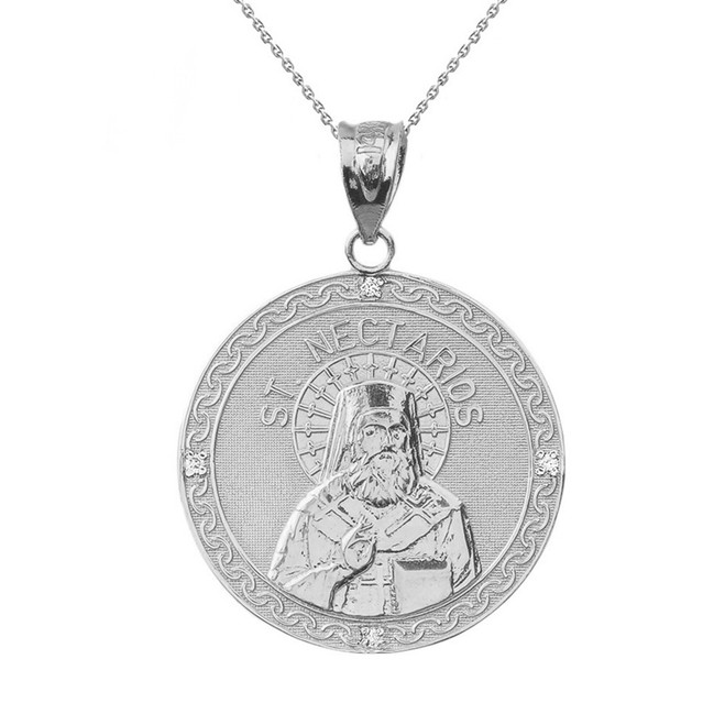 "Sterling Silver Greek Orthodox Saint Nectarios of Aegina Engravable CZ Medallion Pendant Necklace  1.16 "" (29 mm)"