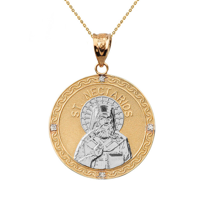"Two Tone Solid Yellow Gold Greek Orthodox Saint Nectarios of Aegina Engravable Diamond Medallion Pendant Necklace  1.16 "" (29 mm)"