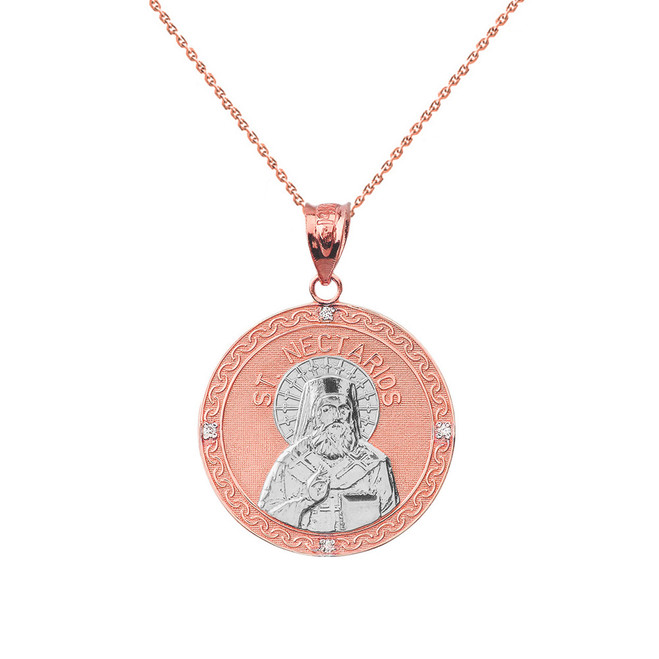 "Two Tone Solid Rose Gold Greek Orthodox Saint Nectarios of Aegina Engravable Diamond Medallion Pendant Necklace  1.01"" (25 mm)"