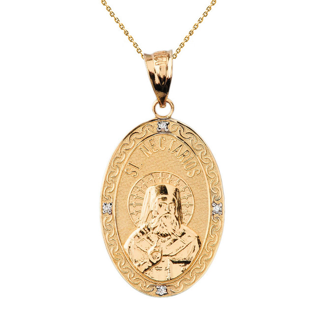 "Solid Yellow Gold Greek Orthodox Saint Nectarios of Aegina Engravable Diamond Medallion Oval Pendant Necklace  1.18"" (29 mm)"