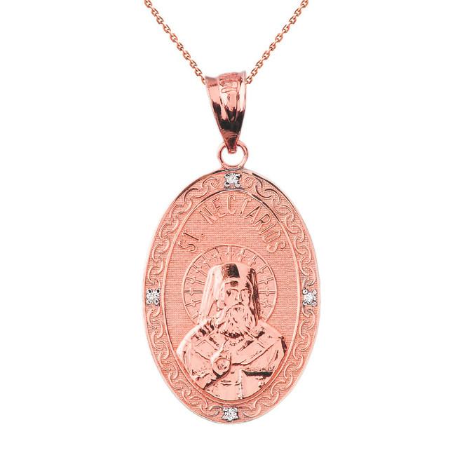 "Solid Rose Gold Greek Orthodox Saint Nectarios of Aegina Engravable Diamond Medallion Oval Pendant Necklace  1.18"" (29 mm)"
