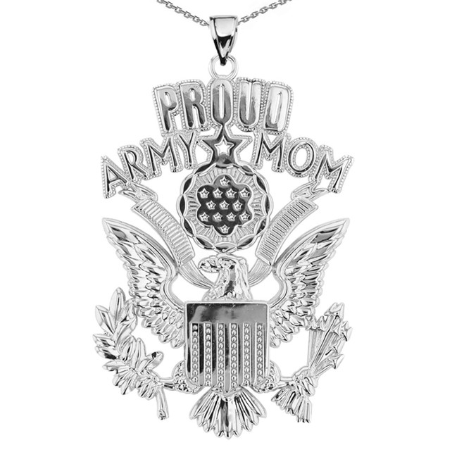 Sterling Silver Proud Army Mom Pendant Necklace