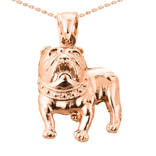 Solid Rose Gold Bulldog Pendant Necklace