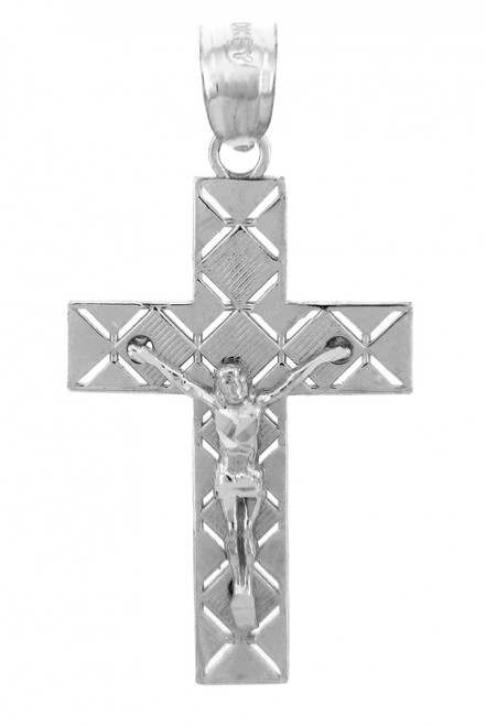 White Gold Crucifix Pendant - The Light Crucifix