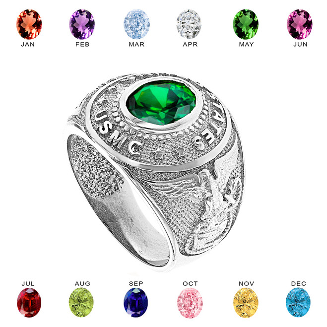 Sterling Silver United States Marine Corps Men's CZ Birthstone Ring