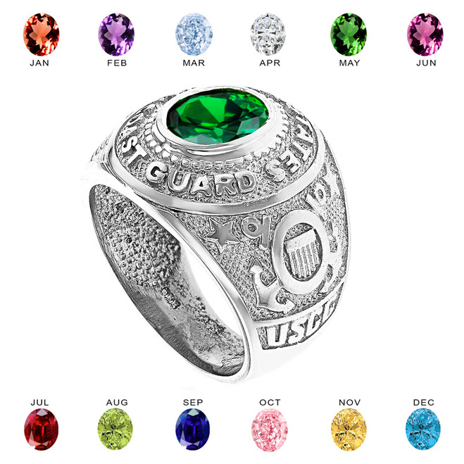 Sterling Silver United States Coast Guard Men's CZ Birthstone Ring