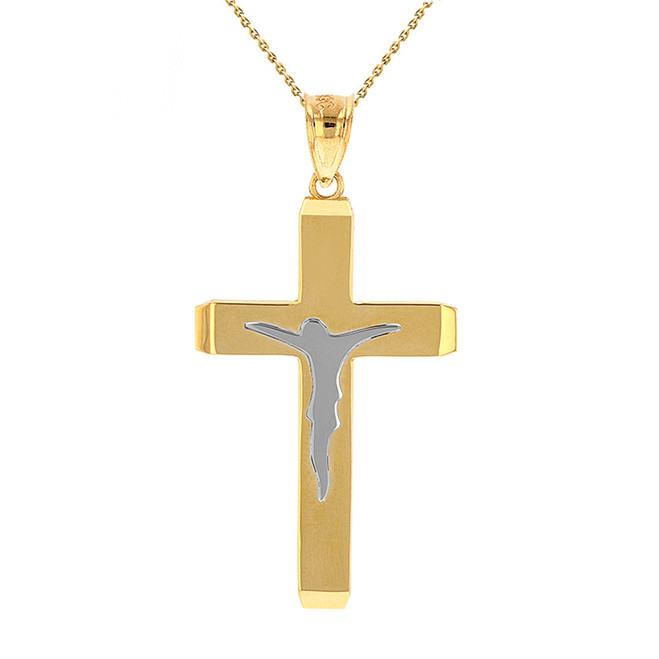 "Two Tone Solid Yellow Gold Layered Cross Jesus Christ Silhouette Pendant Necklace  1.78""  (45  mm)"