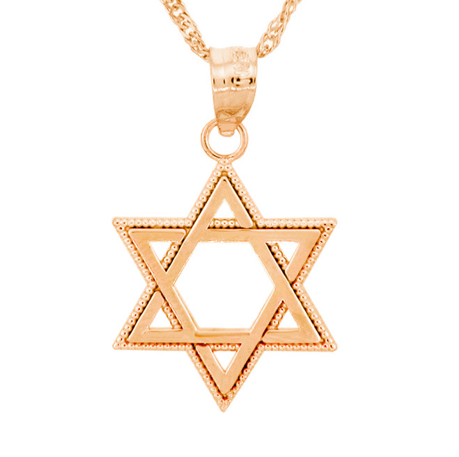 Rose Gold Milgrain Jewish Star of David Pendant Necklace
