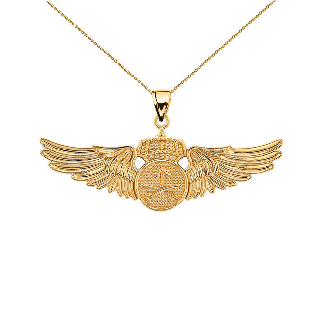 Yellow Gold Saudi Arabian Air Force Wings Pendant Necklace