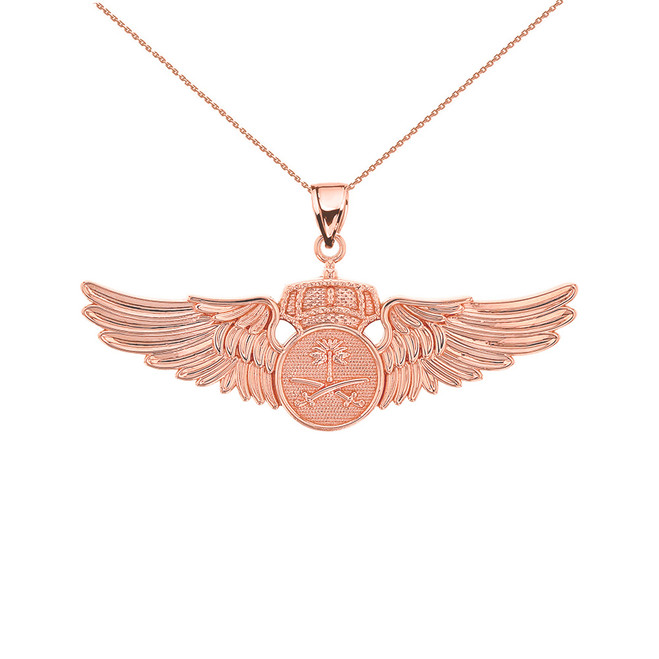 Rose Gold Saudi Arabian Air Force Wings Pendant Necklace