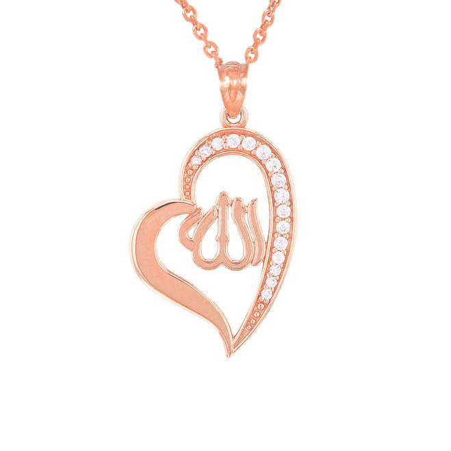 Rose Gold Diamond Allah Heart Pendant Necklace