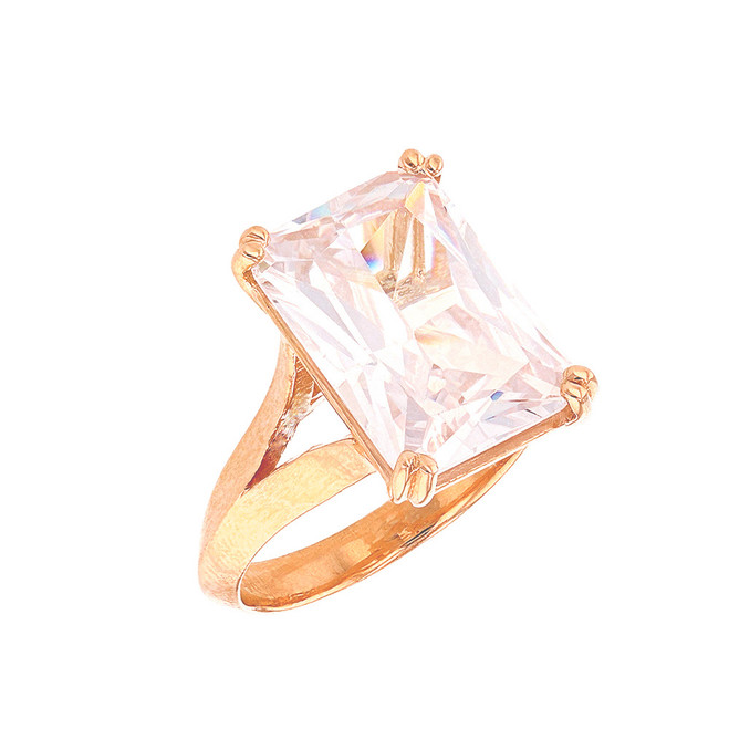 Rose Gold Solitaire Emerald Cut Cubic Zirconia  Engagement Ring