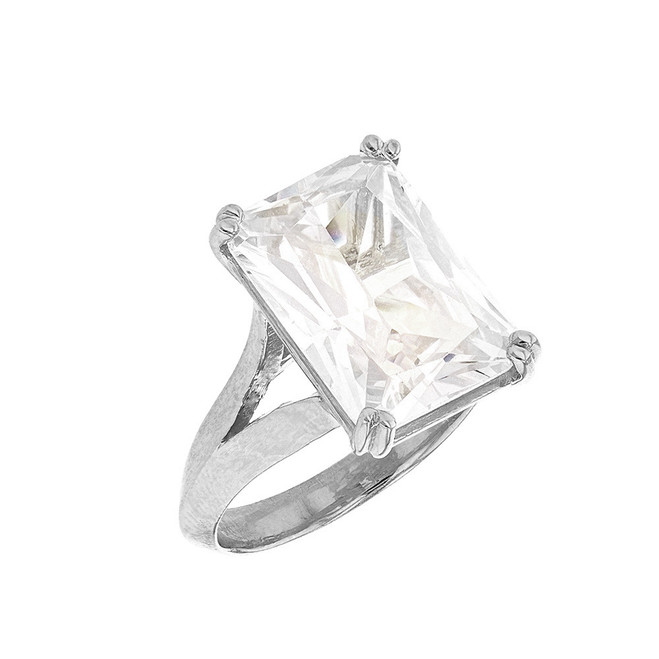 White Gold Solitaire Emerald Cut Cubic Zirconia  Engagement Ring